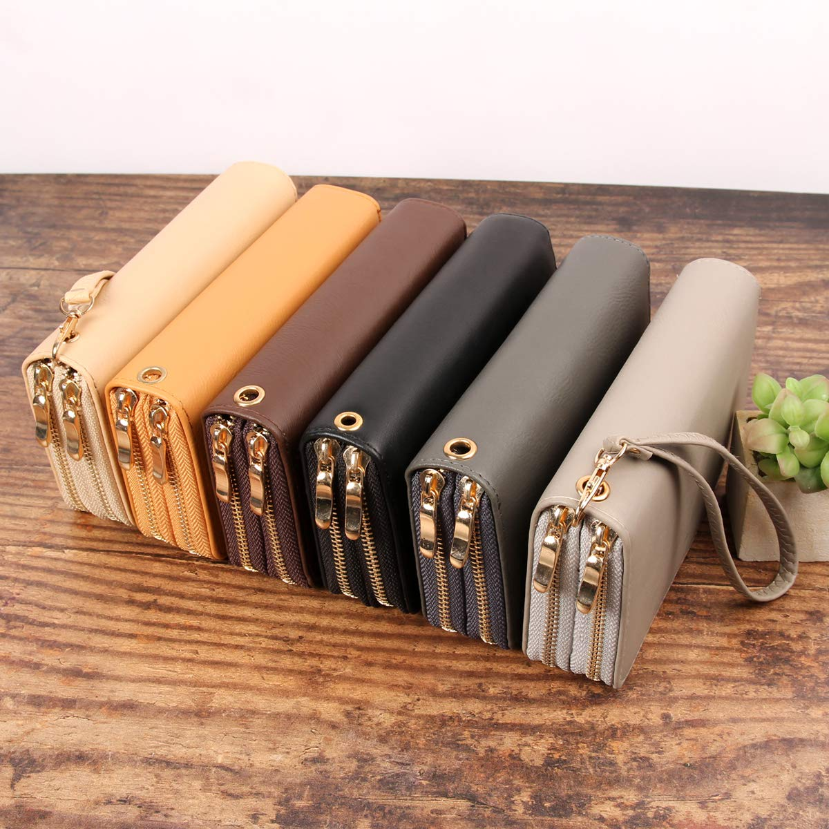 Classic Zip Around Wallet - PU Leather Double Zipper Clutch Purse with Card & Phone Slots, Removable Wristlet Strap (Sand) by MYS Collection (Image #5)