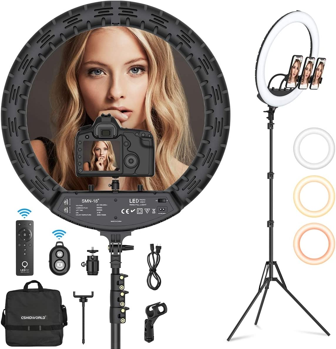 """18"""" Ring Light, Cshidworld Dimmable LED Ring Light Kit with Wireless Remote and Tripod Stand, Hot Shoe Adapter for Camera Microphone Live Streaming Portrait YouTube Video Shooting Make Up"""