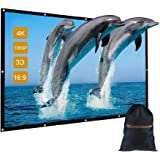 """GBTIGER 120 inch Outdoor Movie Projector Screen with Bag, 120"""" 16:9 Portable Folding Outdoor Movie Screen for Home Cinema Theater Movies Presentation Education Outdoor Indoor Public Display etc."""
