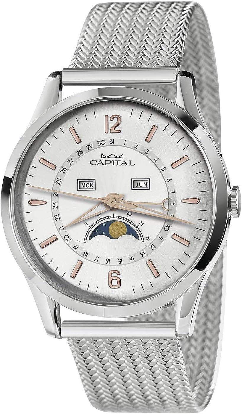 Reloj Capital con Fases de Luna, Fecha, día, Mes, Pulsera de Acero ...