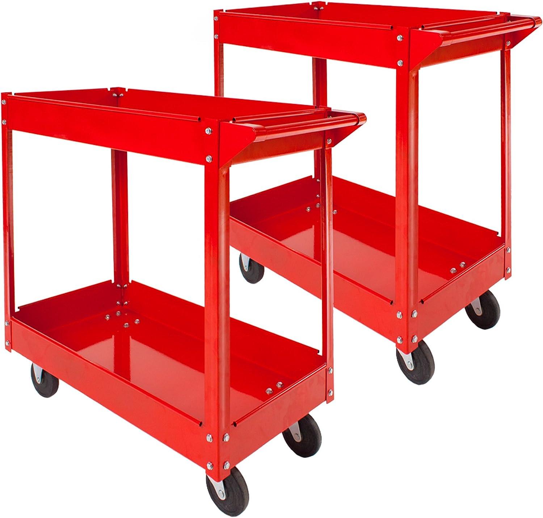 TecTake Carro de taller de herramientas Carro con ruedas de montaje - varios modelos - (2x 2 superficies de carga   No. 402423)