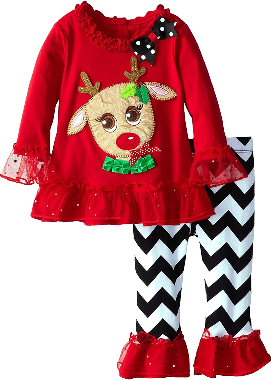 Rare Editions 2 Pc Chevron Reindeer Christmas Pant Set