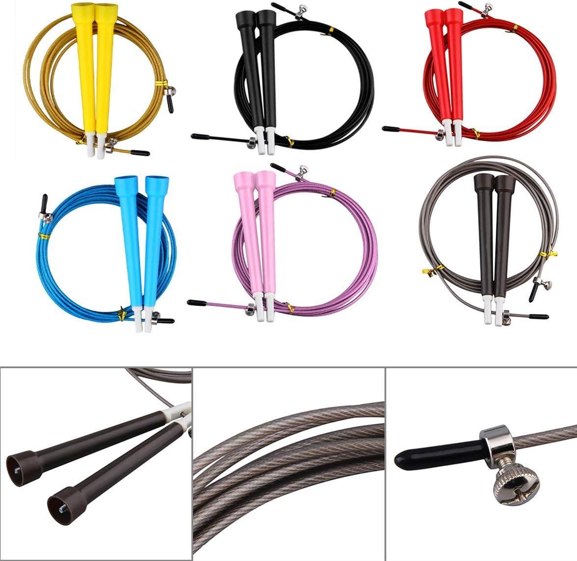 Amarillo Saltar Cuerdas para Saltar Cable de Acero Cable Ajustable de Alta Velocidad Manija de ABS Cuerdas para Saltar Flexibles Entrenamiento de Crossfit Ejercitador Deportivo