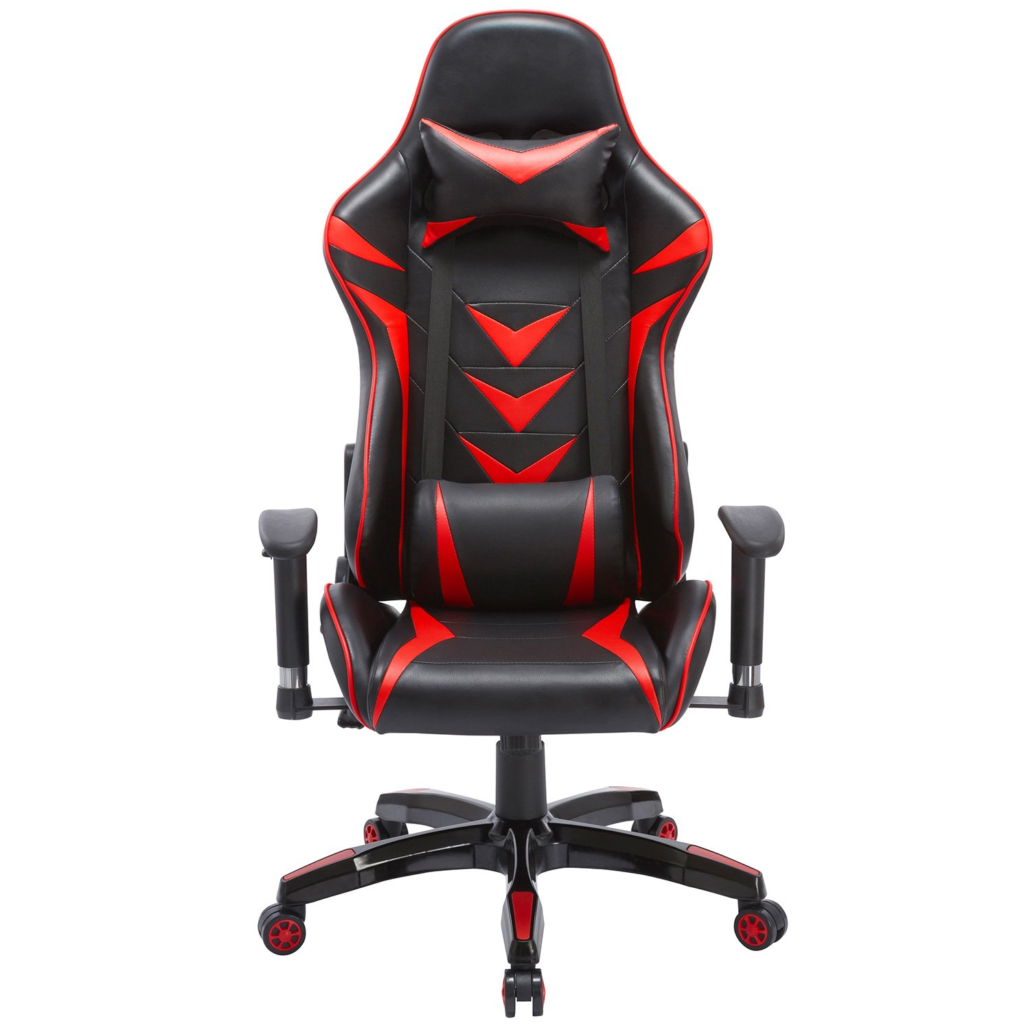High-Back Swivel Gaming Chair Black & Red With Lumbar Support & Headrest | Racing Style Ergonomic Office Desk Chair by Modern-depo