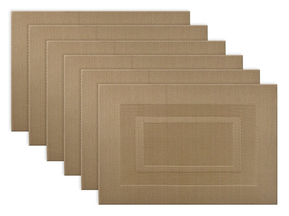 DII Everyday, Easy to Clean Indoor/Outdoor Woven Vinyl Double Border Placemats, 13x18, Copper - Set of 6