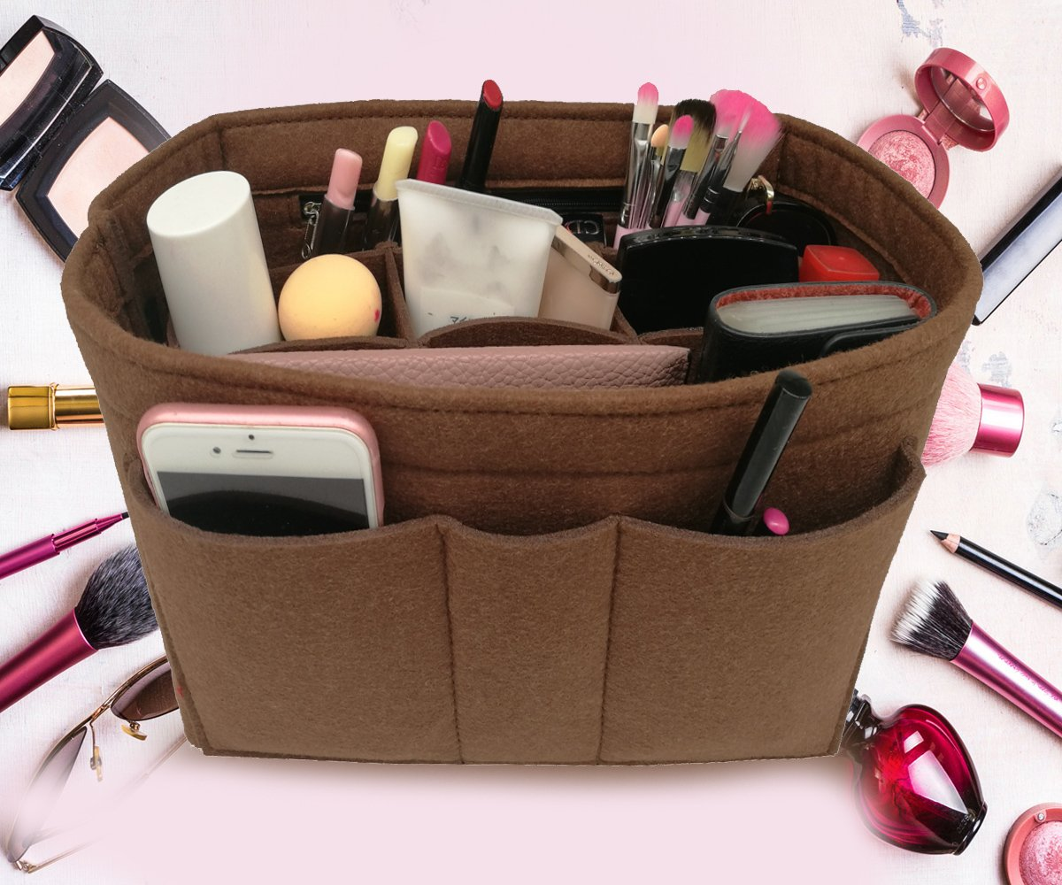 LEXSION Felt Insert Fabric Purse Organizer Bag, Bag Insert in Bag with Zipper Inner Pocket Brown XL by LEXSION (Image #2)
