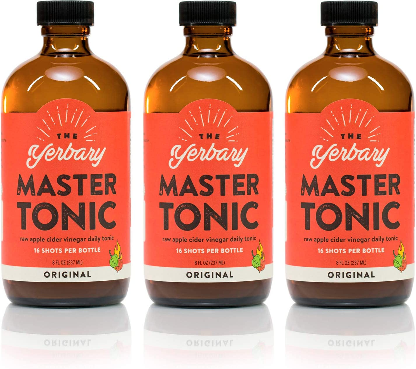The Yerbary Master Tonic/Fire Cider 3-Pack - Original - 8 oz, 3-Pack - 16 Servings Per Bottle