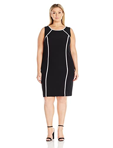 Kasper Women's Plus Size Short Sleeve Dress with Pink Trim
