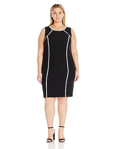 Kasper Women's Plus Size Short Sleeve Dress with Pink Trim