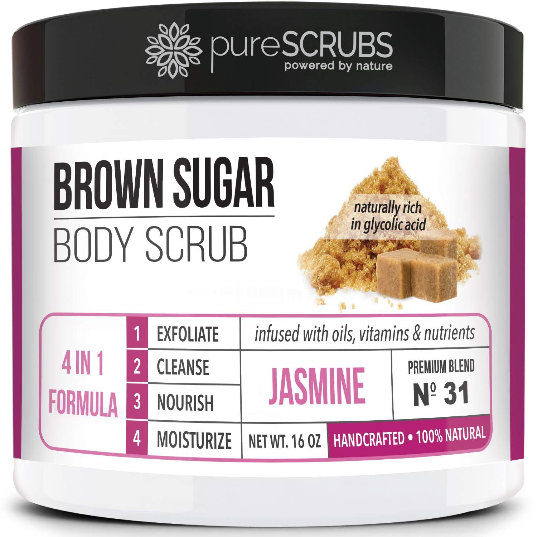 pureSCRUBS Premium Organic Brown Sugar JASMINE FACE & BODY SCRUB Set - Large 16oz, Infused With Organic Essential Oils & Nutrients INCLUDES Wooden Spoon, Loofah & Mini Exfoliating Bar Soap