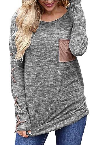 La Mujer Venda Bolsillo Parche Scoop Cuello Blusa De Manga Larga T - Shirt