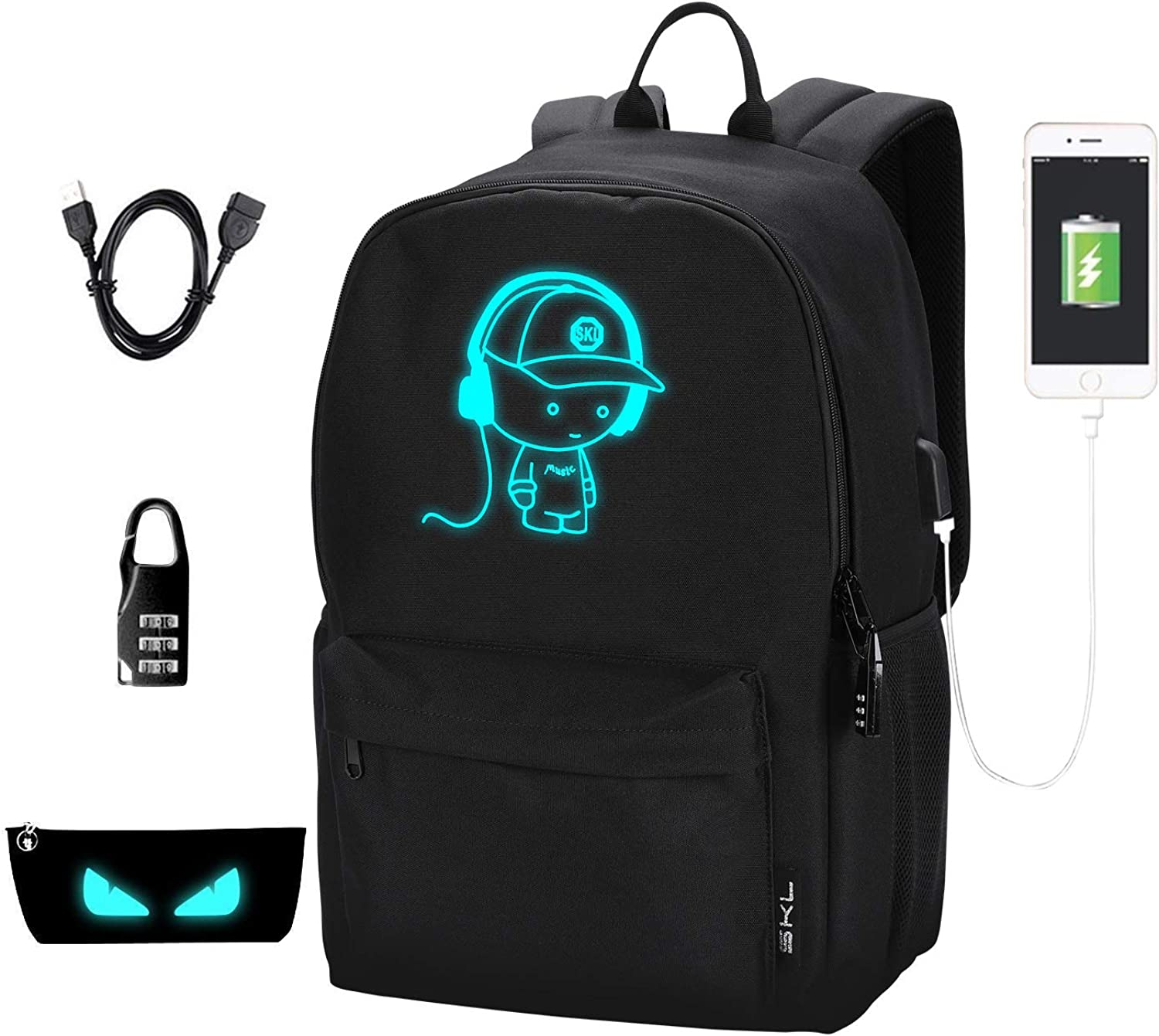 School Backpack School Bag Bookbag Anime Cartoon Backpack with USB Charging Port Pencil Case for Boys Girls Teens