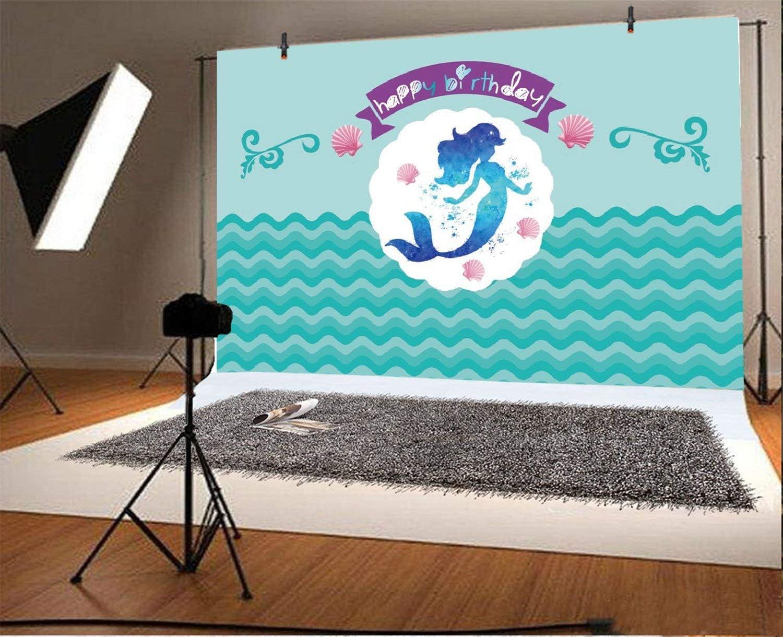 Tel/ón de Fondo de Sirenita para ni/ñas Cumplea/ños bajo el mar Fondo para fotograf/ía 250x180cm Brillo Sirena Baby Shower Tel/ón de Fondo Decoraciones para Fiestas de ni/ños Pastel Mesa Banner Fiesta