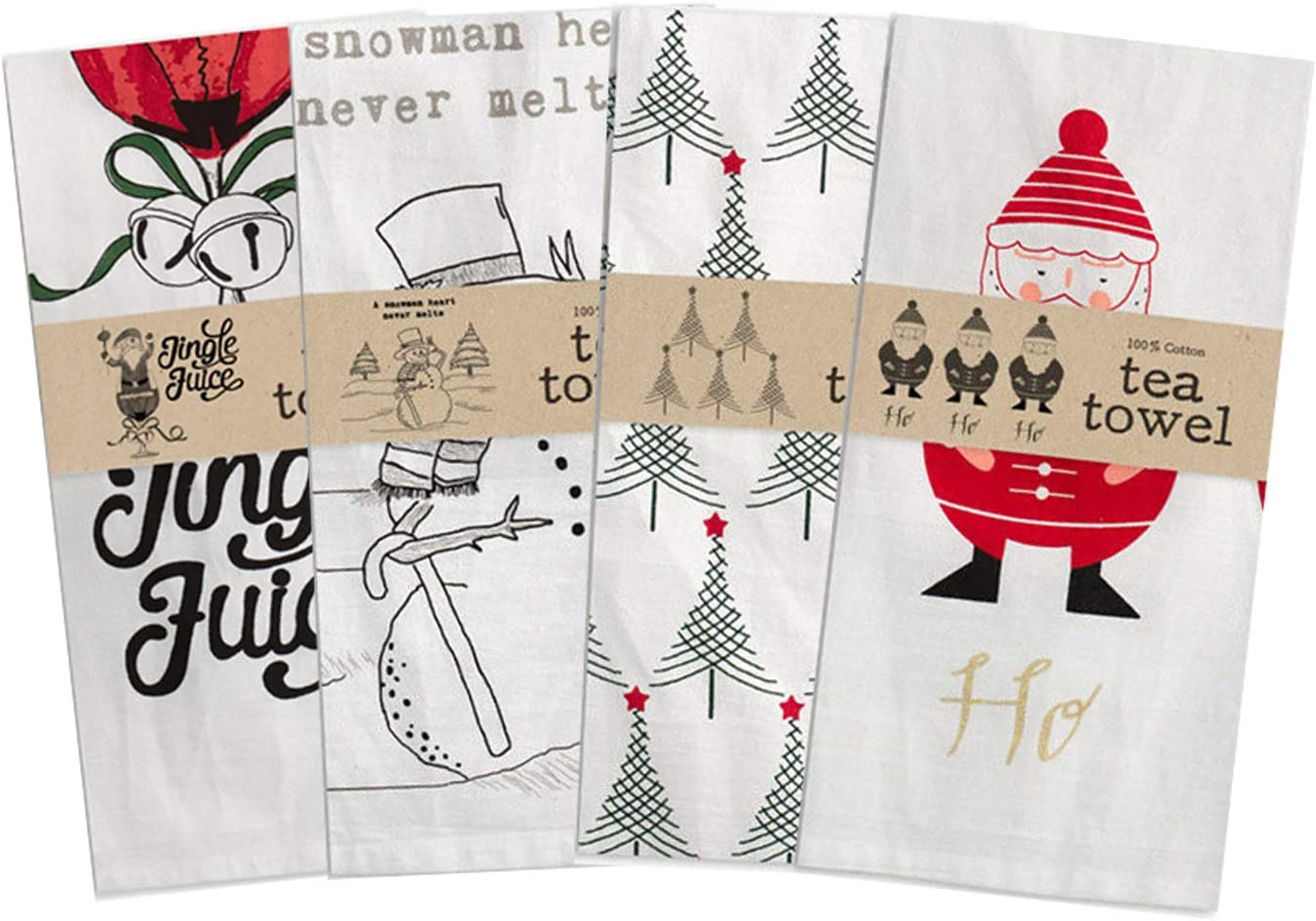 CTW Home Collection Bundle of 4 Christmas Tea or Dish Towels Jingle Juice, Ho Ho Ho, Trees, Snowmans Heart