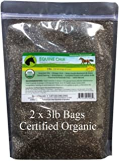 Equine Chia Brand - Certified Organic Chia Seeds in 3 Pound Bags (2 x 3