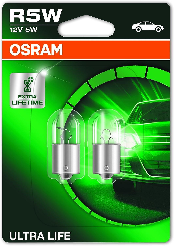 OSRAM ULTRA LIFE R5W, Lámpara halógena, luz de posición, de estacionamiento, de matrícula y trasera, 5007ULT-02B, automóvil de 12V, ampolla doble (2 unidades)