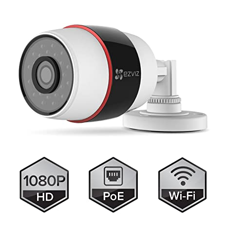 EZVIZ Husky HD 1080p Outdoor PoE & Wi-Fi Video Security Bullet Camera, Compatible with Alexa, 100 ft. Night Vision, Weatherproof Security Cameras at amazon