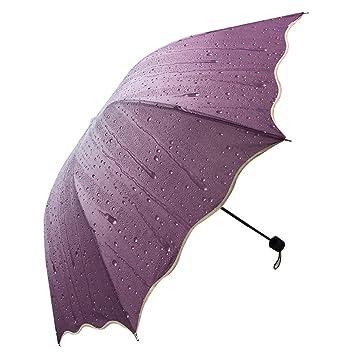Sol Paraguas Irregular Vinilo Gotas De Agua Cuatro Pliegues Automático 8 Huesos Paraguas,5