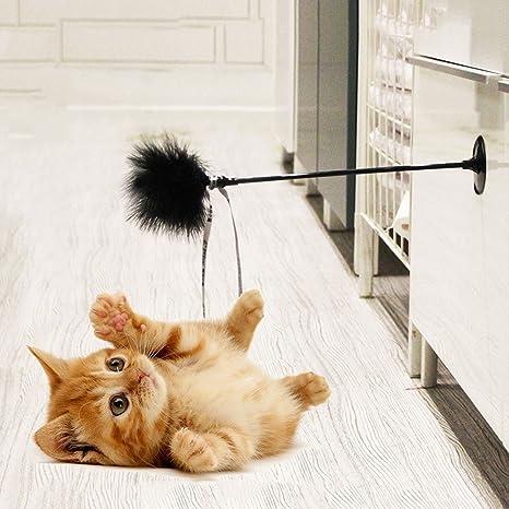 Yunt Juguete de plumas para gatos, con plumas de Turquía y peluca interactiva para gatos