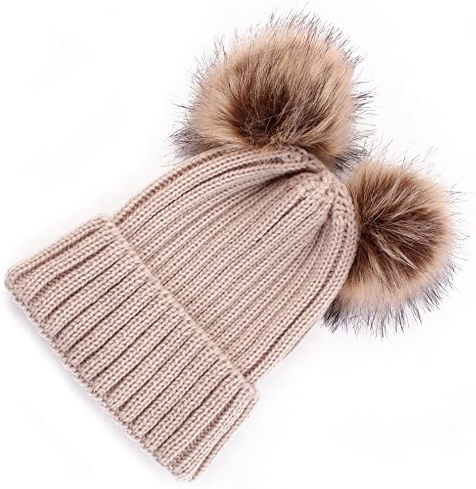Clode/® Baby Beanie for 1-3 Years Old Cute Newborn Baby Warm Winter Plain Knitted Beanie Bobble Hats Pom Pom Hemming Hat
