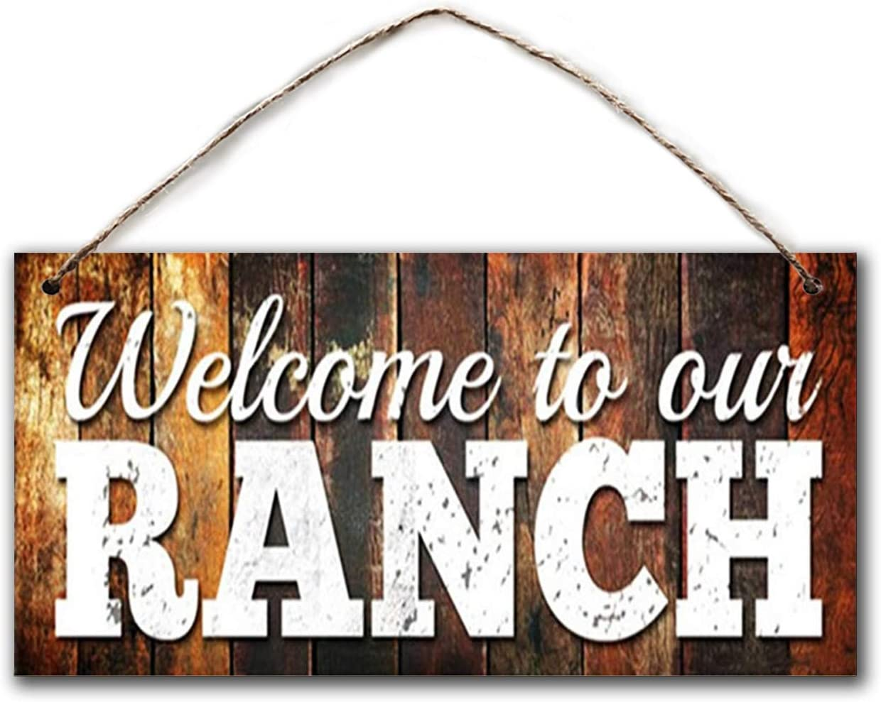 "BESTWD Welcome to Our Ranch Sign, 5""x10"" Wood Sign, Rustic Country Sign, Distressed Barnwood, Housewarming Gift"