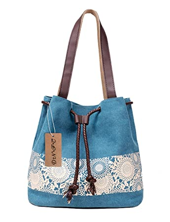 15a0aff1f958c DNFC Damen Handtasche Canvas Schultertasche Umhängetasche Damen Shopper  Tasche Schöne Vintage Henkeltasche Beuteltasche (Blau)