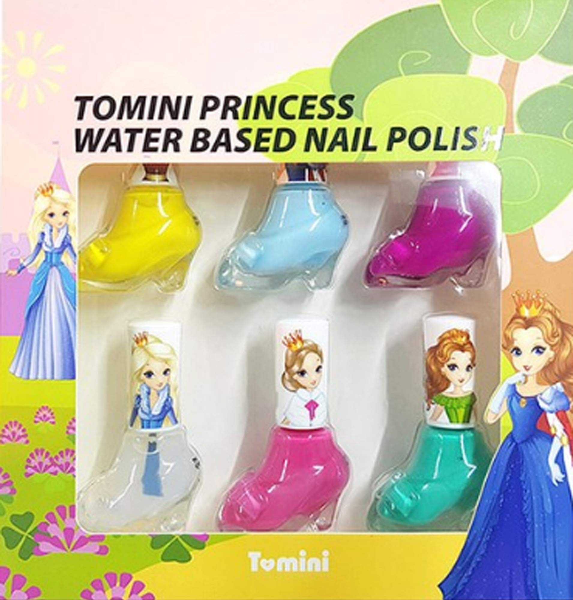 TOMINI Princess Nail manicure set Nail Art Non-Toxic Water-Based Safe Peel Off Nail Care Gift Quick Dry Nail Polish Gifts Toys Kit for Girls Kids Toddlers 0.27oz x 6ea made in korea by TOMINI