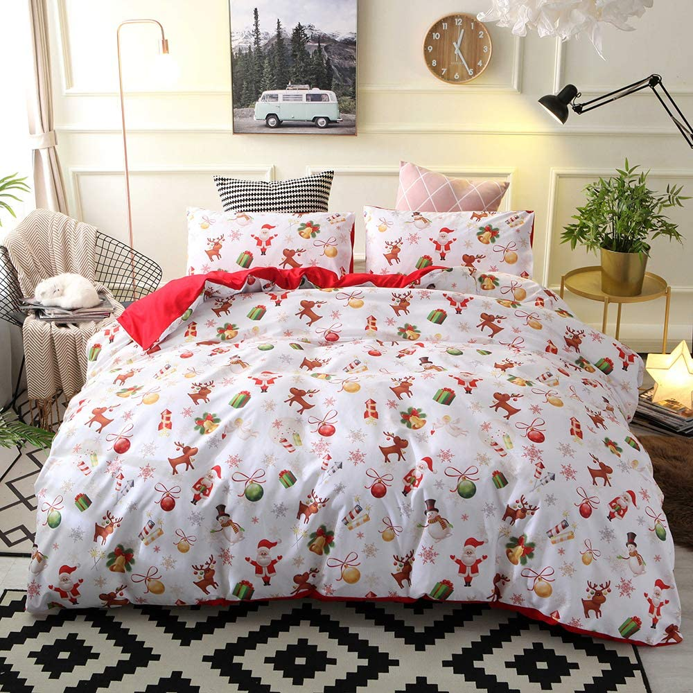 Decdeal Comforter Duvet Cover Set Merry Bedding Set Bedclothes Cover Bed Sheet 2 Pillowcases