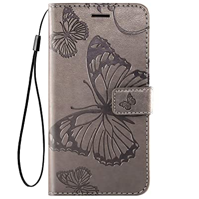 IKASEFU Compatible with MOTO E6 Play Case Emboss butterfly Pu Leather Wallet Strap Card Slots Shockproof Magnetic Stand Support Folio Flip Book Cover Protective Case,gray: Musical Instruments