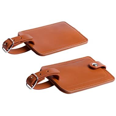 Luggage Bag Tags Leather Travel ID Labels Suitcase Name Tags with Snap - Set of 2