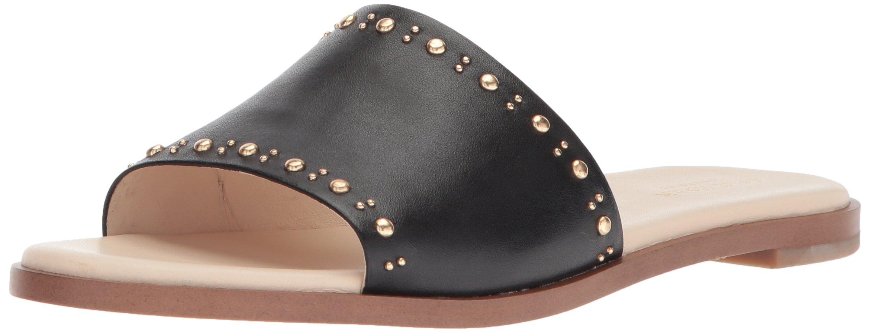 Cole Haan Women's Anica Stud Slide Sandal, Black Leather, 9 B US