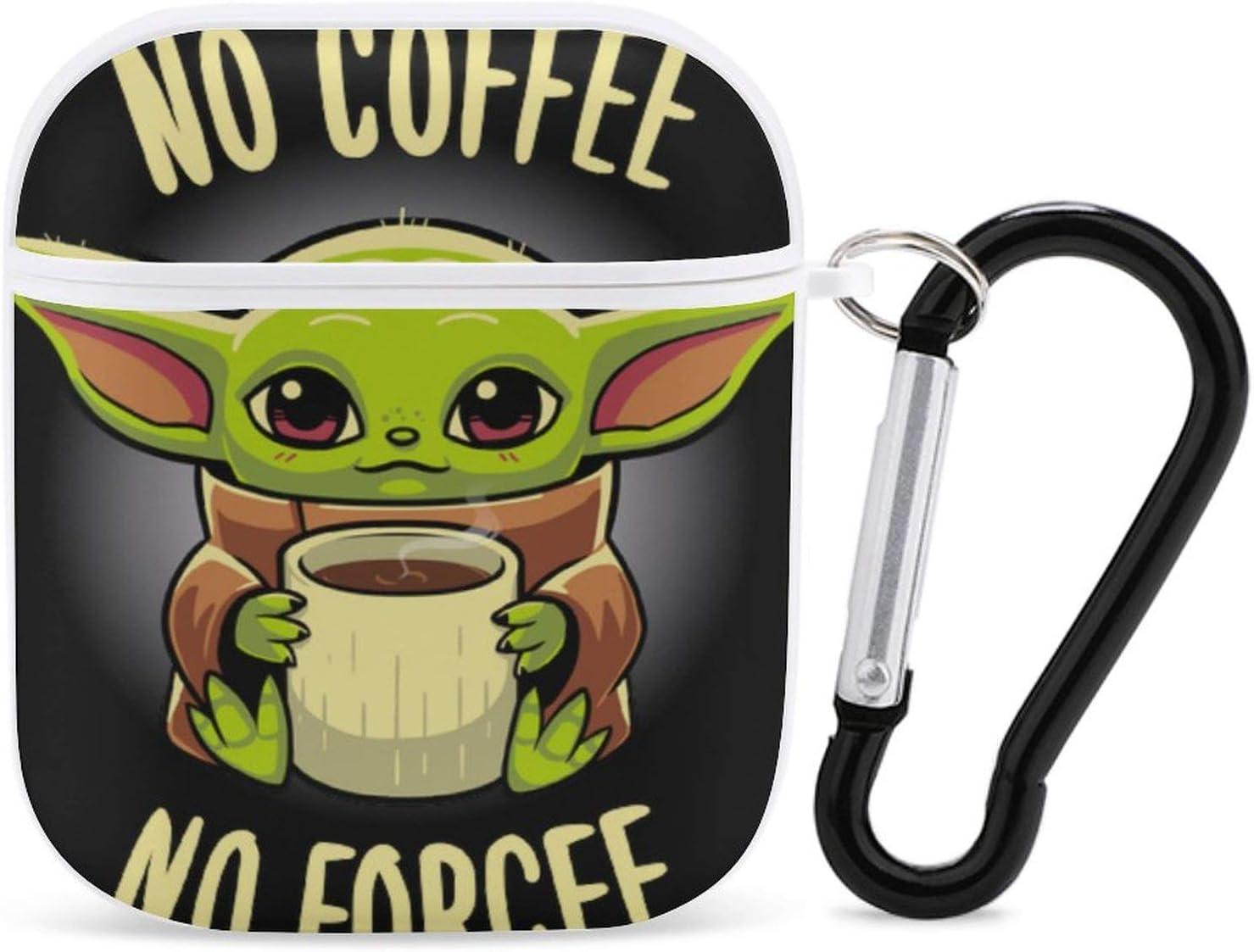 Ba-by Yo-da Man-dalorian Apple Airpods Bluetooth Headset Case Cover,Cute Matte Black Airpods Cover Case,Earphone Wireless Charging Case Cover for Apple Airpods 2&1