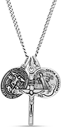 Steve Madden Men's Oxidized Saint Benedict, Crucifix, and Saint Michael Trio Pendant Chain Necklace for Men in Stainless Steel, Silver, 28