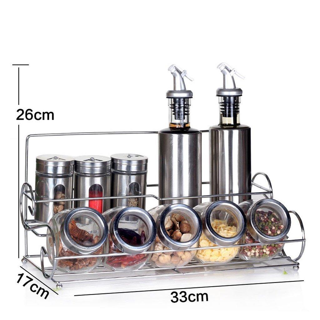 MoMo Edelstahl-Gewürzkästen, bleifreie Glaswürze-Flaschen, Hausgewürz-Flaschen-Sets, Küchenzubehör 11 Montage,AA