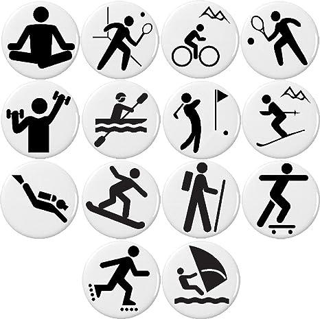 Amazon.com: Juego de 14 blanco y negro deportes símbolo ...