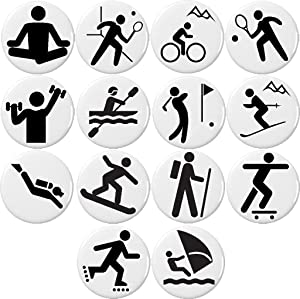 Set 14 Black & White Sports Symbol Signs Magnets Fitness Biking Golf Skiing