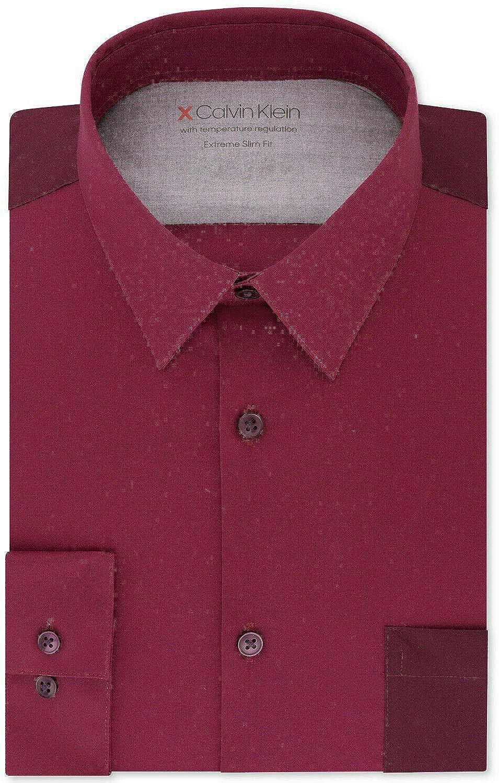 Calvin Klein Mens Slim Fit Performance Bur Dress Up Wholesale Button Clearance SALE Limited time Shirt