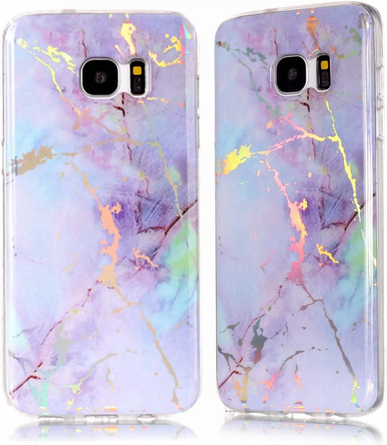 DAMONDY Galaxy S7 Edge Case,3D Shiny Marble Glitter Ultra Thin Slim Back Skin Full Body Protective Soft TPU Rubber Bumper Case Phone Cover for Samsung Galaxy S7 Edge-Pink Purple