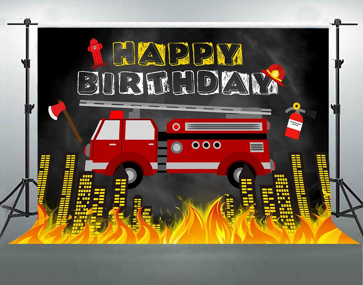 Firetruck Backdrop for Birthday Party, 7x5ft Soft Cotton, Fireman Fire Truck Firefighter Photography Background, Children Bday Party Decor Supplies, Photo Booth Props LHFS1188