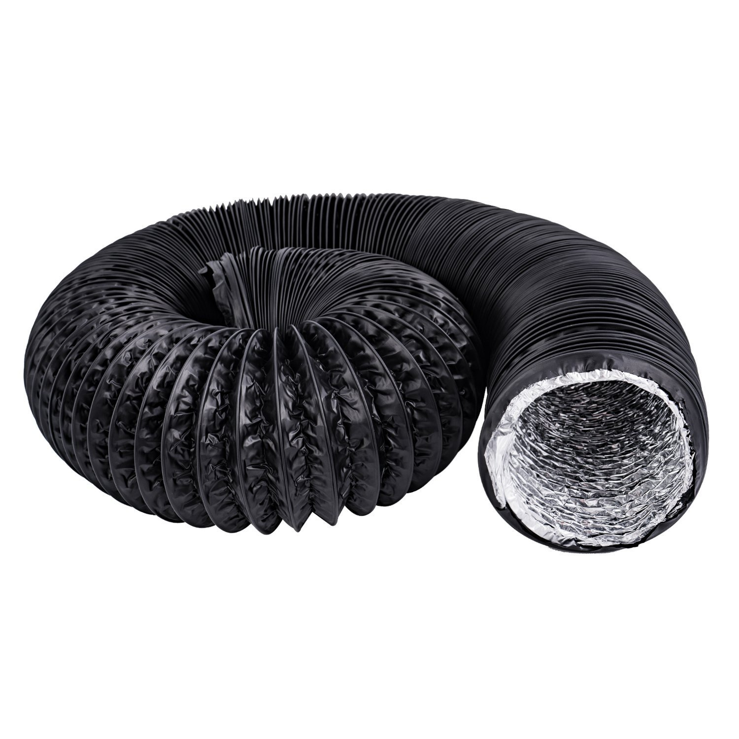 Hon&Guan 4 inch Air Duct - 32 FT Long, Black Flexible Ducting HVAC Ventilation Air Hose for Grow Tents, Dryer Rooms,Kitchen