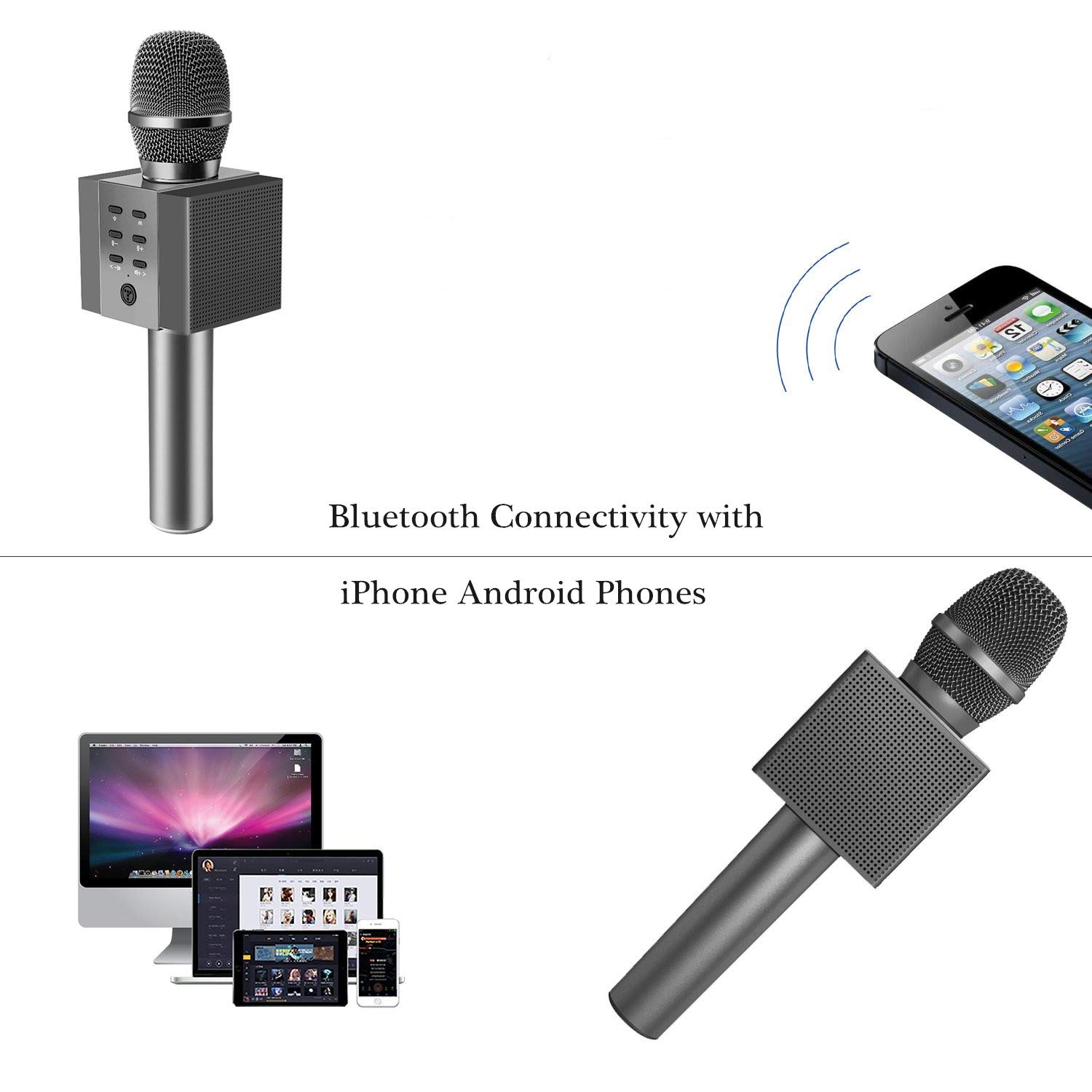 TOSING Wireless Karaoke Microphone for Kids, Top Birthday Party Gifts Ideas for Teens and Adults, Bluetooth Handheld Karaoke Machine, Superior Surrounding, Compatible with iPhone Android Phones by TOSING (Image #4)