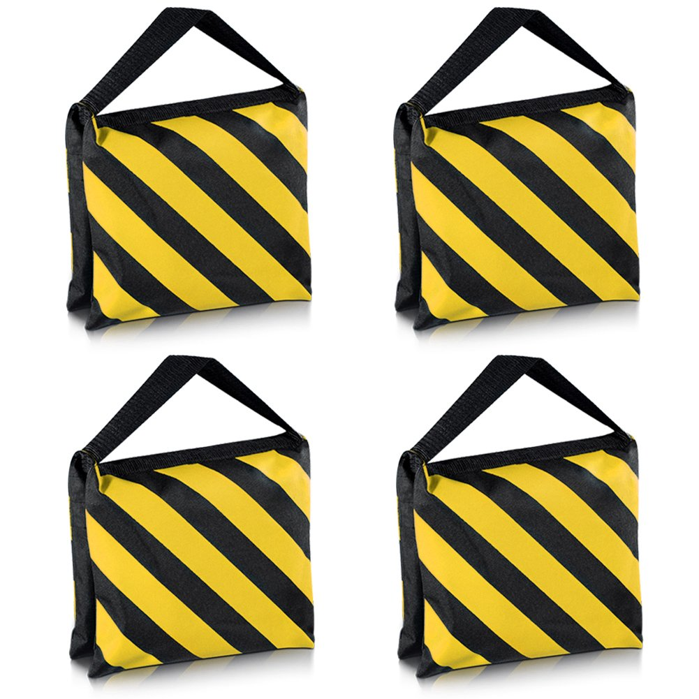 Neewer Set of Four Black/Yellow Heavy Duty Sand Bag Photography Studio Video Stage Film Sandbag Saddlebag for Light Stands Boom Arms Tripods by Neewer