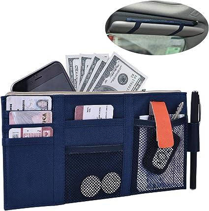 2 Auto Car Visor Organizer Holder Pouch Storage Multi-Pocket Bag W// Straps Black