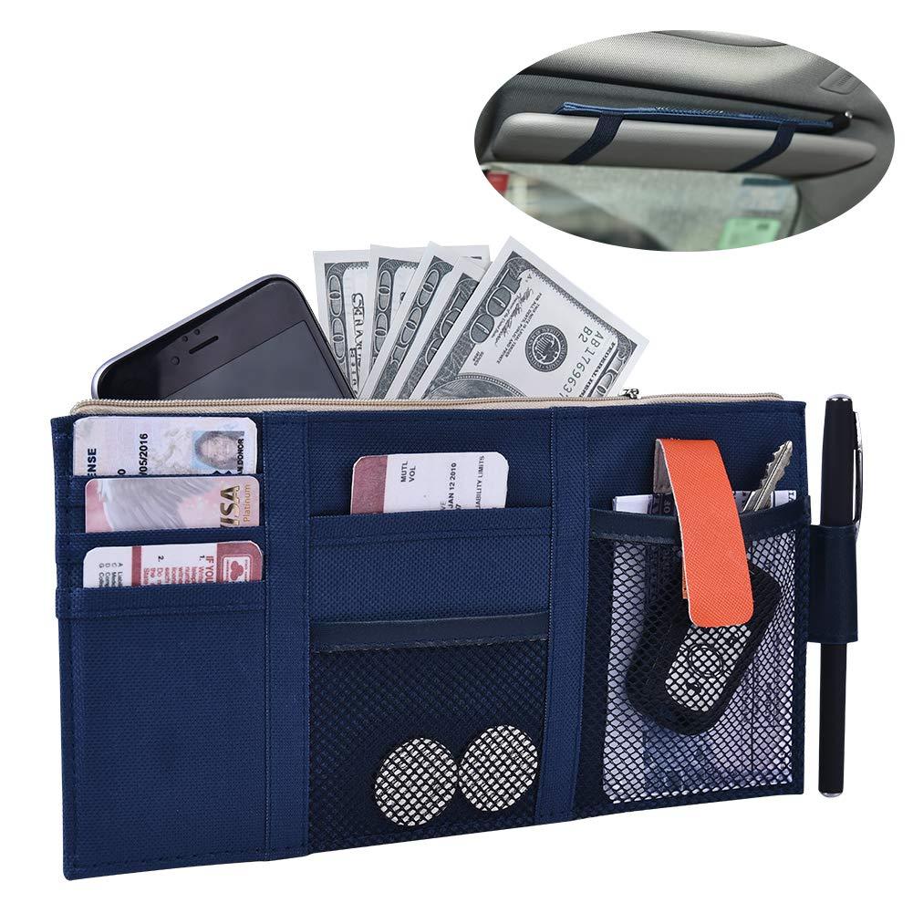 Auto Interior Accessories Multi-Pocket Organizer Universal Tidy Organizer Car Visor Storage Bag Holder Pouch for SUV 10.75X5.75inch Truck ALACHI USA Car Sun Visor Organizer Blue, M Jeep
