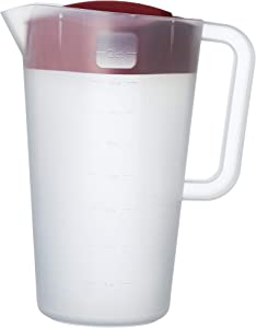 Good Cook 1/2 Gallon Plastic Straining Pitcher Square Lid with 3 Strainers and Close No Spill, Dishwasher Safe, Clear and Red