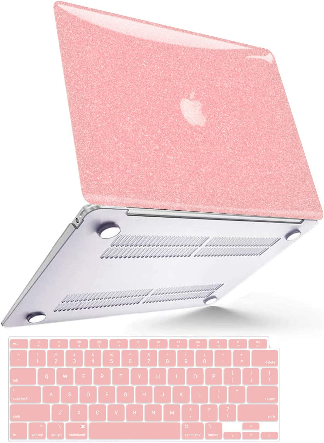 B BELK MacBook Air 2020 M1 Case 2019 2018, MacBook Air 13 inch Case A2337 A2179 A1932 with Touch ID, Anti-Fingerprint Smooth Shiny Laptop Plastic Hard Shell Case + 2 Keyboard Covers, Pink