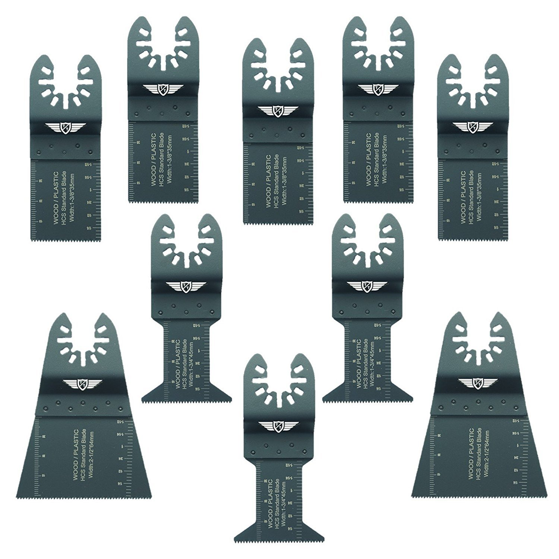 10 x TopsTools FAKA10F Fast Fit-Lame per Dewalt Mix, Stanley, Black and Decker, Bosch, Fein Multimaster, pastello, Makita, Milwaukee, Einhell, Ergotools, Hitachi, Parkside, Ryobi, Worx, Workzone Utensile multiuso con accessori