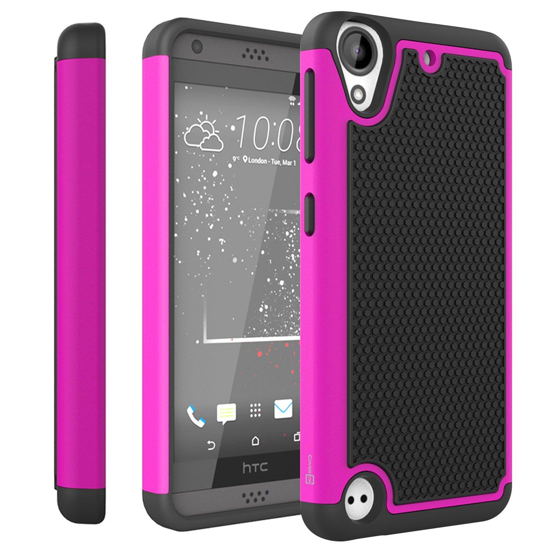 newest 79b04 21f97 HTC Desire 555 Case, HTC Desire 550 Case, CoverON [HexaGuard Series] Slim  Hybrid Hard Phone Cover Case for HTC Desire 550/555 - Pink/Black