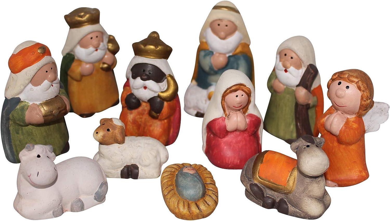 Set De 11 Figuras Belén 7.5cm, Nacimiento, Belén De Cerámica Santon Para Decoración Navideña
