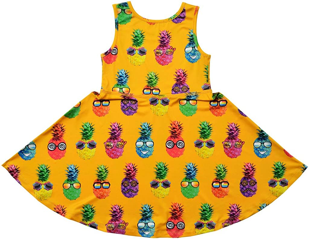 Jxstar Girls Summer Dress Sleeveless Printing Casual//Party 3-13Years